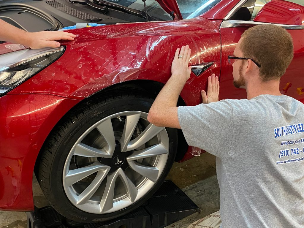 Tesla Protected From Paint Damage Using SunTek Paint Protection Film in Wilmington, North Carolina - Paint Protection Film Services in the Wilmington, North Carolina Area 2